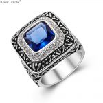 2017 Vintage Charm <b>Jewelry</b> Blue Quartz Stone 925 Sterling Silver Ring for man casual clothes <b>Accessories</b> R1280