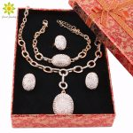 African Beads <b>Jewelry</b> Sets Fashion Wedding <b>Accessories</b> Women Crystal Gold Color Necklace Earrings Set +Gift Boxes