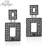 Mytys Retro Style Hollow Square Drop Earrings for Women Grey Marcasite Stone <b>Antique</b> Earrings New Arrival Vintage <b>Jewelry</b> E49