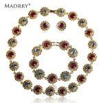 Madrry Alloy Metal Elegant Round Rhinestone <b>Jewelry</b> Sets Necklace & Earrings & Bracelet Bridal Wedding <b>Accessories</b> Bijuterias