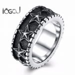 IOGOU Trendy Stainless Steel Men Star Hip Hop Rings <b>Antique</b> Silver Plated Male Fashion Hip Hop Punk Rings Party <b>Jewelry</b> Gifts