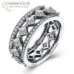Genuine Sterling Silver Wedding Rings for Women Vintage Style <b>Antique</b> Silver Cubic Zirconia Ring Fashion Brand <b>Jewelry</b> Bague