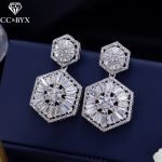 CC earrings for women fashion hollow design flowers wedding <b>accessories</b> bride engagement shine cubic zircon <b>jewelry</b> gift E0156