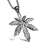 <b>Antique</b> Silver Stainless Steel Leaf Mens' Necklaces Pendant With 23.6 Inch Box Chain Fashion Punk Rock style Men <b>Jewelry</b>