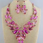 Birdal Wedding Necklace Earring Set Fuchsia Glod plated Rhinestones Crystal Statement Women's party <b>Jewelry</b> sets <b>accessories</b>