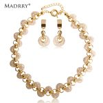 Madrry Fashion Rose Color Necklace Earring Set Wire Metal Zircon <b>Jewelry</b> Sets Bijuterias For Women Bridal Wedding <b>Accessories</b>
