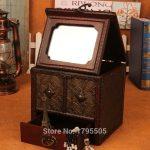 <b>Antique</b> Wooden Dressing Case Retro With Mirror <b>Jewelry</b> Box Make Up Organizer Boxes Desktop Wood Box Desktop Home Decoration