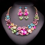 8 Colors Elegant Flower Bridal <b>Jewelry</b> Sets Dubai Necklace Earring For Brides Wedding Party <b>Accessories</b> Crystal Decoration Women