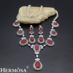 HERMOSA <b>jewelry</b> New Fashion wedding White zircon ruby925 Sterling Silver Party wedding <b>Accessories</b> Necklace Earrings set ST34