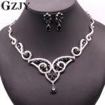 GZJY Luxury Gold Color Black & Purple White Zircon Nacklace Earrings Set For Women Charming Wedding <b>Jewelry</b> <b>Accessories</b>