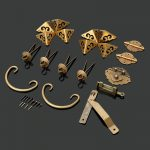 Brass Hardware Set Furniture Knobs and Handles +Hinges +Latch +Lock+Pin+Corner Protector <b>Antique</b> <b>Jewelry</b> Wood Box Decoration