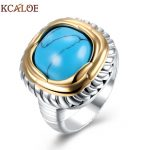 KCALOE Square Blue Stone Big Ring For Women Vintage <b>Antique</b> <b>Jewelry</b> Silver Plated Large Statement Ladies Rings Bague Argent