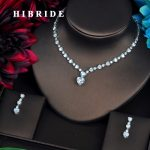HIBRIDE Fashion Love Heart Shape CZ <b>Jewelry</b> Sets For Women Luxury Necklace Set Wedding Dress <b>Accessories</b> Party Show N-451
