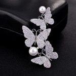 S.vex Fashion Bride Butterfly Brooch Pin Clear Rhinestone Crystal Bridal Bridesmaid Wedding <b>Accessories</b> Top Quality <b>Jewelry</b>