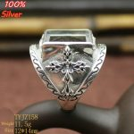 100% Sterling Silver 925 <b>Jewelry</b> 12*14mm Adjustable Ring Blank Tray For Man Setting Square Stone <b>Antique</b> Silver Classical