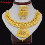 Adixyn 45cm/18inch Necklace Earrings <b>Jewelry</b> Set For Women Girls Gold Color Romantic Arab/Ethiopian/African Wedding <b>Accessories</b>