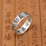 Deer king S990 Zuyin <b>jewelry</b> wholesale six silver ring Buddhist mantra carved <b>antique</b> style