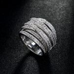 fashion women <b>accessories</b> AAA cubic zironia multi-layer cross pave setting hollow ring for girl party <b>jewelry</b> gift