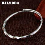 BALMORA 990 Pure Silver Classic Bangles for Women Men <b>Accessories</b> Gift about 18cm Bracelet Fashion Silver <b>Jewelry</b> Pulsera SZ0506