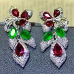 precious fine <b>jewelry</b> wholesale luxury classic 18k gold <b>jewelry</b> diamond natural red ruby green emerald gem stone drop earrings