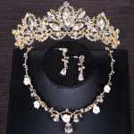 Gold Color Rhinestone Crystal Necklace Earring Crown Bridal <b>Jewelry</b> Sets Princess Wedding tiara Hair <b>Jewelry</b> <b>Accessories</b>