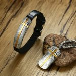Vnox New Men's Damascus Steel Cross Genuine Leather Bracelet and Necklace <b>Jewelry</b> Sets Stylish Textured Male Gifts <b>Accessories</b>