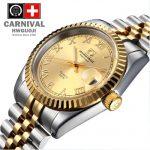 Carnival luminous waterproof fully-automatic quartz mens army watch rhinestone <b>jewelry</b> male watches full steel gold luxury brand