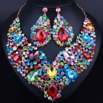 Luxury big flower Crystal necklace and long earrings for women wedding prom dress <b>accessory</b> African <b>Jewelry</b> sets