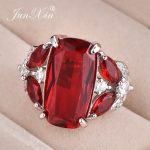 JUNXIN Vintage Red Square Zircon Ring White Gold Filled Big Engagement Rings For Women Luxury Wedding <b>Jewelry</b> <b>Accessories</b>