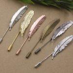 4pcs/Lot Feather Brooches <b>Antique</b> Bronze/Silver/Gold vintage cabochon pin base blank settings diy handmade <b>jewelry</b>