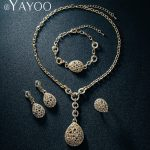 AYAYOO Dubai Gold Color Pendant Necklace African Beads <b>Jewelry</b> Sets For Women Earrings Chain Bracelet Wedding Gift <b>Accessories</b>