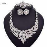 ULEX Indian Crystal Bridal <b>Jewelry</b> Sets Statement Big Necklace Earrings Sets for Bride Wedding Party Dress Costume <b>Accessory</b> ZM1