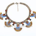New Styles <b>Antique</b> Gold Color Chunky Choker Statement Necklace Women with Resin Stone Pendant <b>Jewelry</b> Top Qualtiy