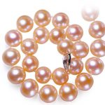 ASHIQI 100% 9-10 mm Big Pink freshwater pearl necklace 925 <b>sterling</b> <b>silver</b> charms necklace for women <b>jewelry</b>