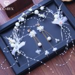 CC stud earrings for women hairbands 3pcs sets wedding <b>accessories</b> bridal engagement <b>jewelry</b> fairy handmade beads pearl XY243