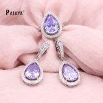 PATAYA Purple <b>Jewelry</b> Set True White Gold Natural Zircon Beauty Water Drop Ring Earring Wedding Women <b>Accessories</b> Indian <b>Jewelry</b>