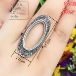 100% 925 Sterling-Silver-<b>Jewelry</b> Adjustable Oavl Ring Blank Fit 12*25MM Prism Setting Tray <b>Antique</b> Silver Plate