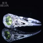 HELON 925 Sterling Silver 4.5mm round Pave 0.92ct Peridot <b>Art</b> <b>Deco</b> Ring Engagement Wedding Anniversary Women <b>Jewelry</b> Fine Ring