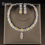 RAKOL Famous Brand Bbrilliant Crystal Zircon Earrings necklaces Bridal <b>jewelry</b> Set Women Wedding Dress <b>Accessories</b> RS2007