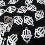 12pcs Micro Pave Crystal <b>Antique</b> Silver Hamsa Hand Charms 18-25mm connector finding