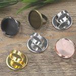 50pcs 25mm Pad ring blank with Cameo Tray,<b>Antique</b> Bronze/Gold/Silver Ring setting,Handmade DIY Zakka <b>jewelry</b> Finding