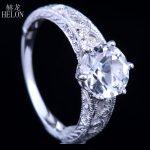 HELON Solid 10k White Gold 8mm Round 2.12ct White Topaz Diamond Ring Retro <b>Art</b> <b>Deco</b> Style <b>Jewelry</b> Women Engagement Wedding Ring