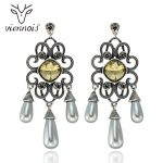 Viennois Dangle Earrings Women Vintage Silver Color Yellow Crystal Earrings Female <b>Antique</b> Hollow Simulated pearl <b>Jewelry</b>
