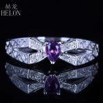 HELON Vintage <b>Art</b> <b>Deco</b> Fine <b>Jewelry</b> Solid 10K White Gold 3.5×4.5mm Pear Purple amethyst Engagement Wedding Natural Diamond Ring