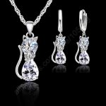 Jewellery Sets <b>Accessories</b> Genuine 925 Sterling Silver Cubic Zirconia Cat Kitty Necklace Pendant+Leverback Earrings Hot