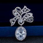 New Hi-Q Cubic Zirconia Silver Tone Bowknot Dangle Brooch Broach Pin Women <b>Jewelry</b> Dress <b>Accessories</b> B0074SIL