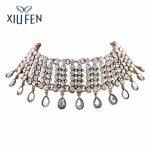 XIUFEN Luxury Crystal Waterdrop Pendant Choker Necklace Women Accessories <b>Jewelry</b> N4433 <b>Antique</b> Gold