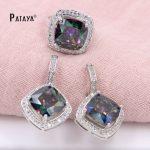 PATAYA Big Rainbow <b>Jewelry</b> Sets Square Natural Zircon Ring Earrings Sets Bride Wedding <b>Accessories</b> Cristal Summer Style <b>Jewelry</b>