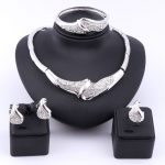 African Beads Wedding <b>Accessories</b> <b>Jewelry</b> Sets Fine Crystal Silver Plated Bridal Necklace Bangle Earrings Rings Sets