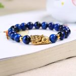 Natural Blue Tiger Eye Stone Bracelet 8-14mm Beads Fine Caving Pi Xiu Bracelet for Women <b>Jewelry</b> <b>Accessories</b>